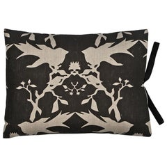 Printed Linen Throw Pillow Flight Black