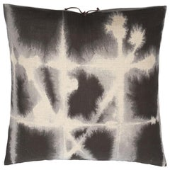 Printed Linen Throw Pillow Grid Grey
