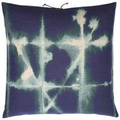 Printed Linen Throw Pillow Grid Petrol