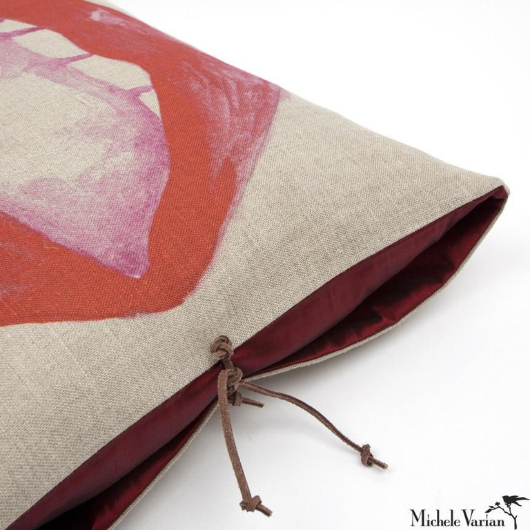 A luxury handmade decorative throw pillow made of printed Belgian linen, great for adding comfort and casual, laid-back style to a contemporary living room, bedroom or lounge. Belgian linen is high quality, durable, naturally made fabric from the