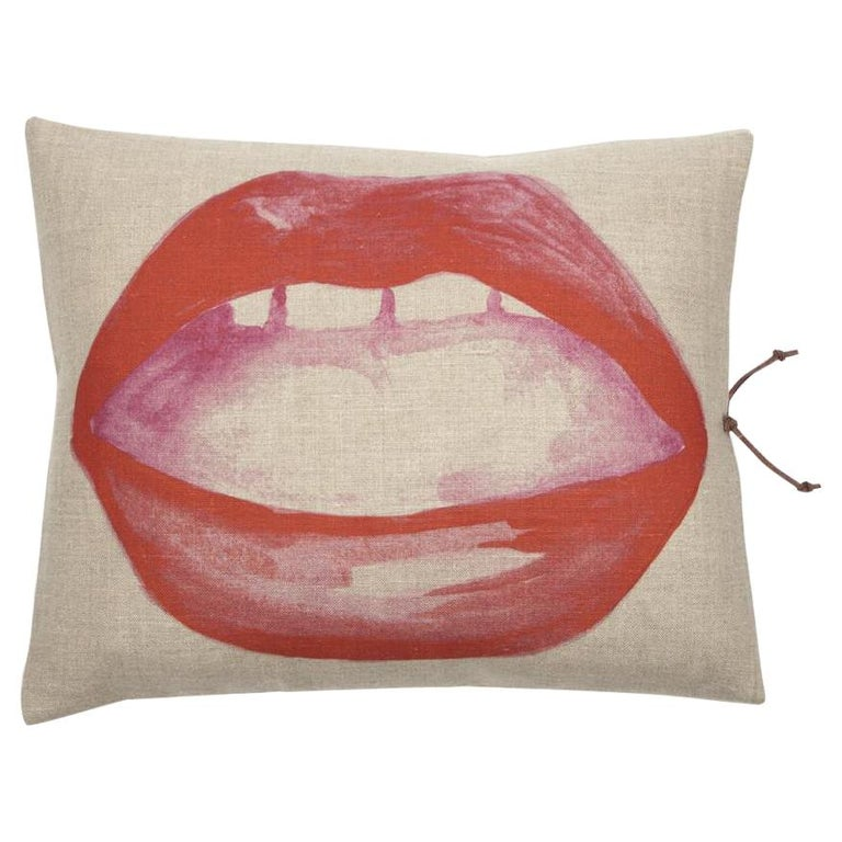 Printed Linen Throw Pillow Lips For Sale