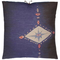 Printed Linen Throw Pillow Multi Spear Indigo