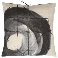 Printed Linen Throw Pillow Orbit Black