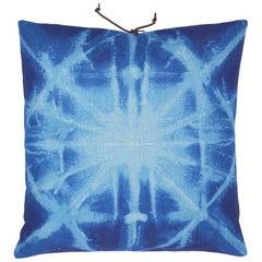 Printed Linen Throw Pillow Starburst Blue