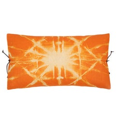 Printed Linen Throw Pillow Starburst Orange