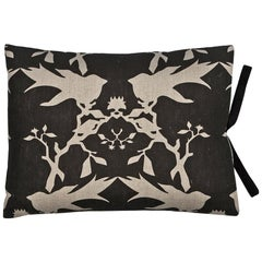 Printed Linen Throw Pillow Thornbird Black