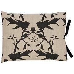 Printed Linen Throw Pillow Thornbird Natural