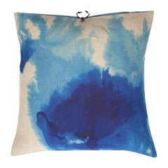 Printed Linen Throw Pillow Wash Blue