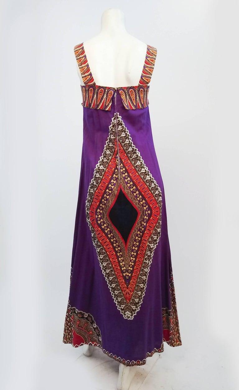 Black Printed Purple Hippie Maxi Cotton Dress, 1960s For Sale