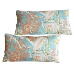 Lumbar Pillows with Birds and Flowers