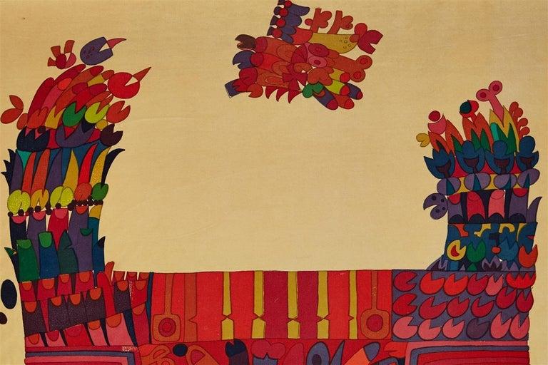 Printed textile, wall hanging. Designed by Stig Lindberg for NK, Sweden. 1960s. Hand printed cotton velvet.  Measures: Width 98 cm/ 38 1/2