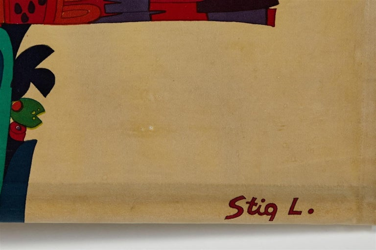 Scandinavian Modern Printed Textile, Wall Hanging, Designed by Stig Lindberg for NK, Sweden, 1960s For Sale