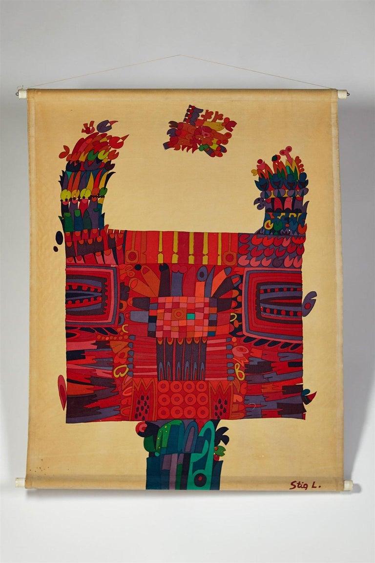 Swedish Printed Textile, Wall Hanging, Designed by Stig Lindberg for NK, Sweden, 1960s For Sale