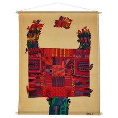 Printed Textile, Wall Hanging, Designed by Stig Lindberg for NK, Sweden, 1960s