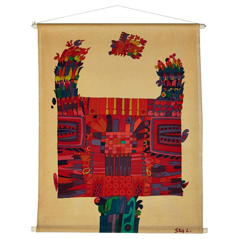 Printed Textile, Wall Hanging, Designed by Stig Lindberg for NK, Sweden, 1960s For Sale