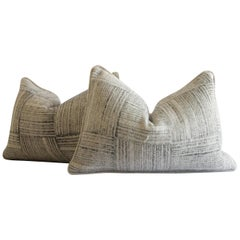 Printed Wool Lumbar Pillows in Tan and Charcoal Stripes