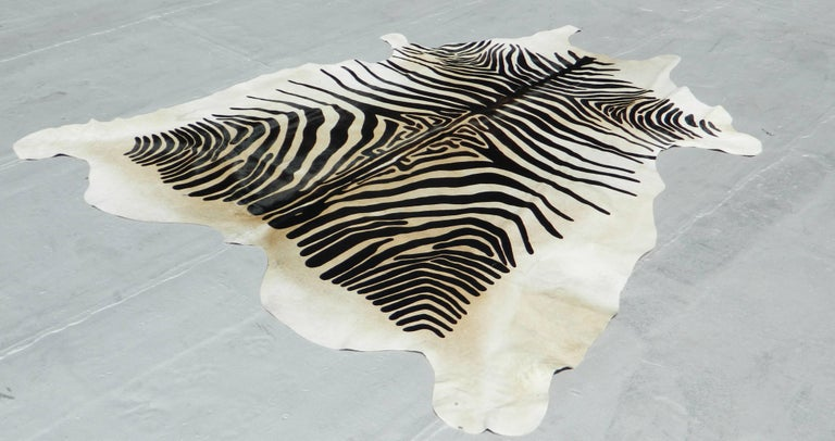 Printed Zebra Cow Hide Rug In New Condition For Sale In New York, NY