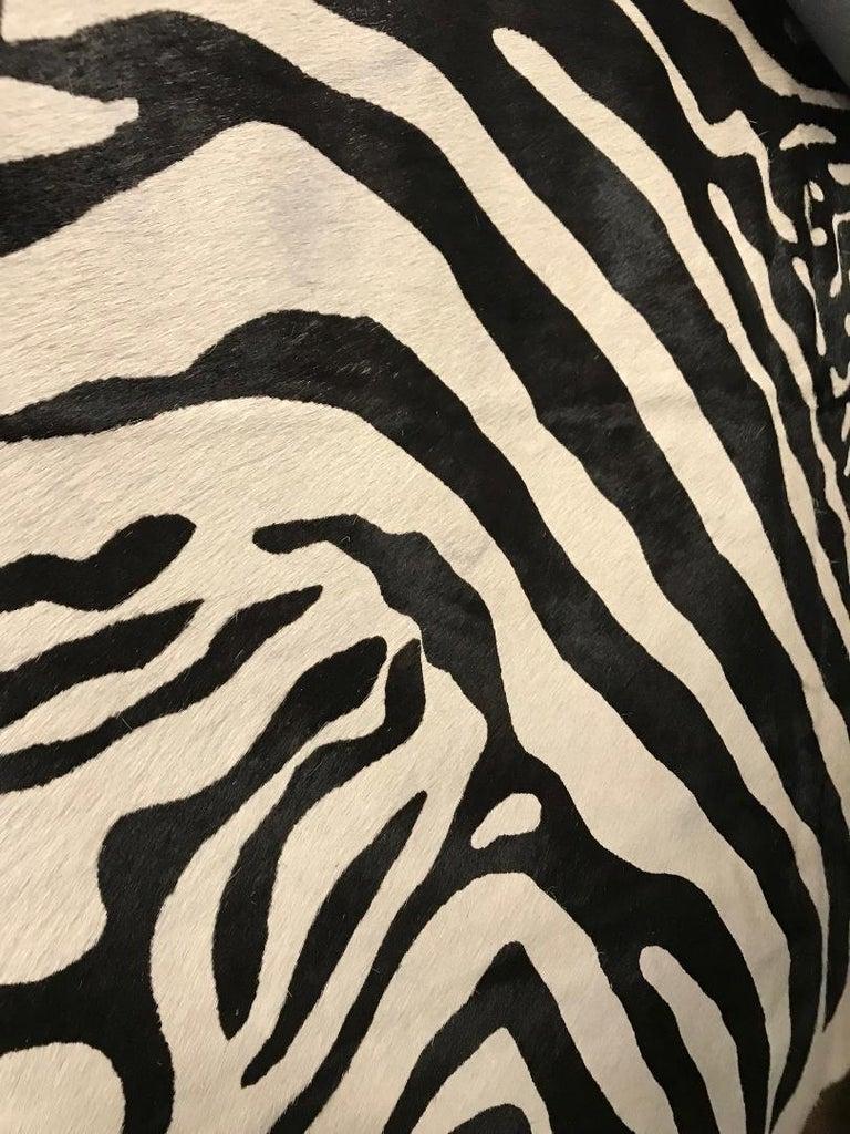 Contemporary Printed Zebra Cow Hide Rug For Sale