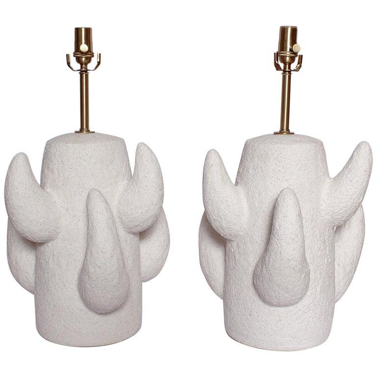 Priscilla Hollingsworth Ceramic Lamps Exclusively for Stripe Vintage Modern For Sale