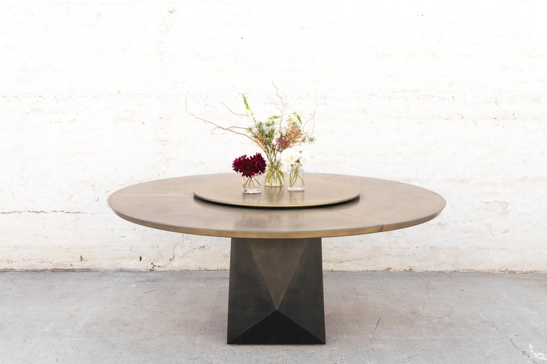 Prism Dining Table, Customizable Metal and Resin 4