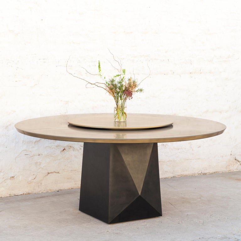 Prism Dining Table, Customizable Metal and Resin 5
