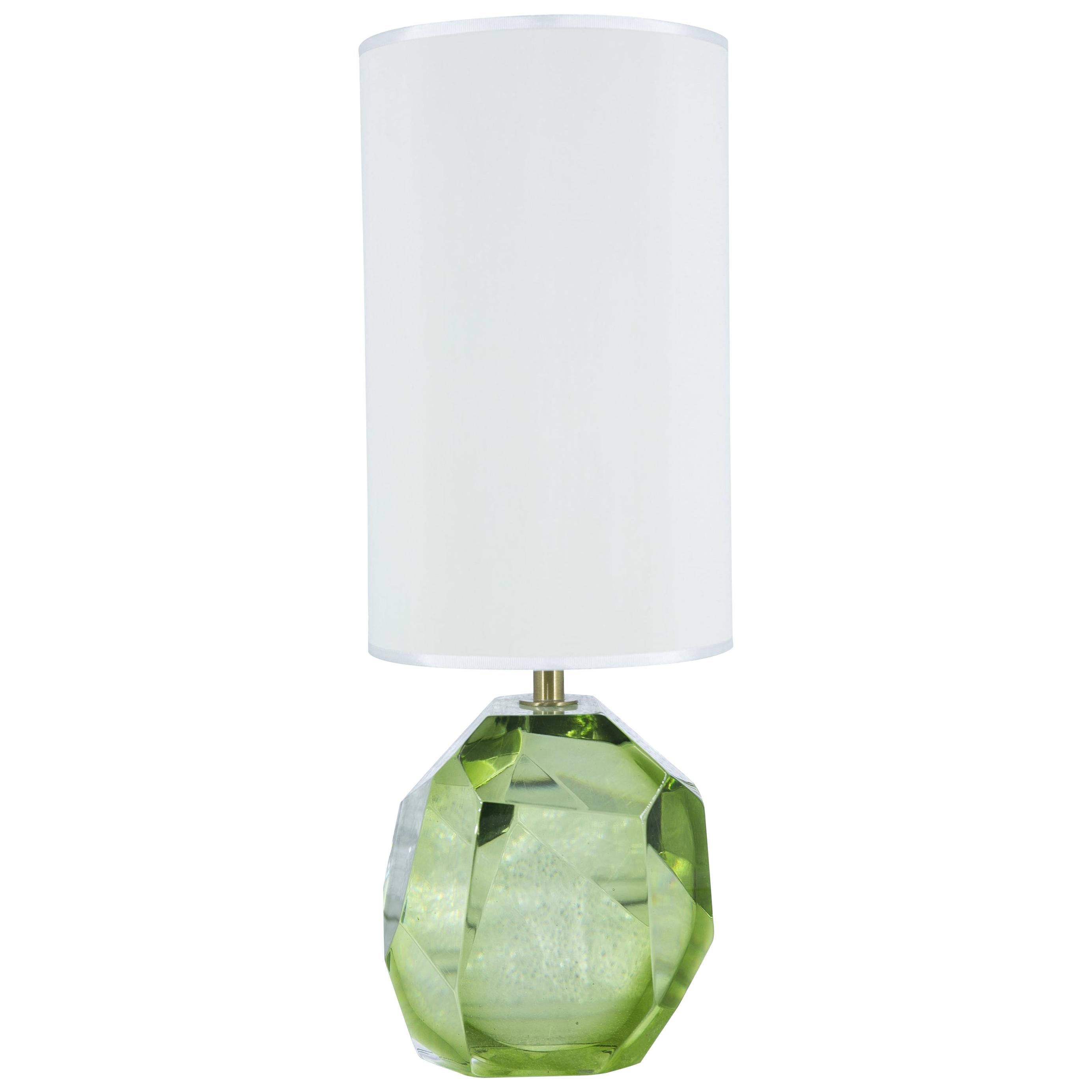 Prism Murano Glass Table Lamp, Made in Italy, Green Color