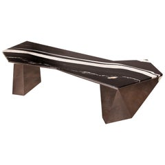 Prism XL, Bar in Hand Polished Stainless Steel and Polished Copacabana Marble