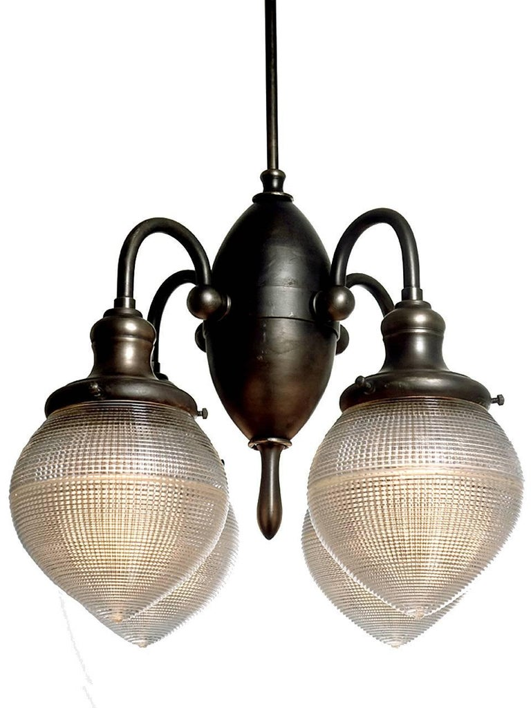 Industrial Prismatic Four-Globe Dental Chandelier For Sale
