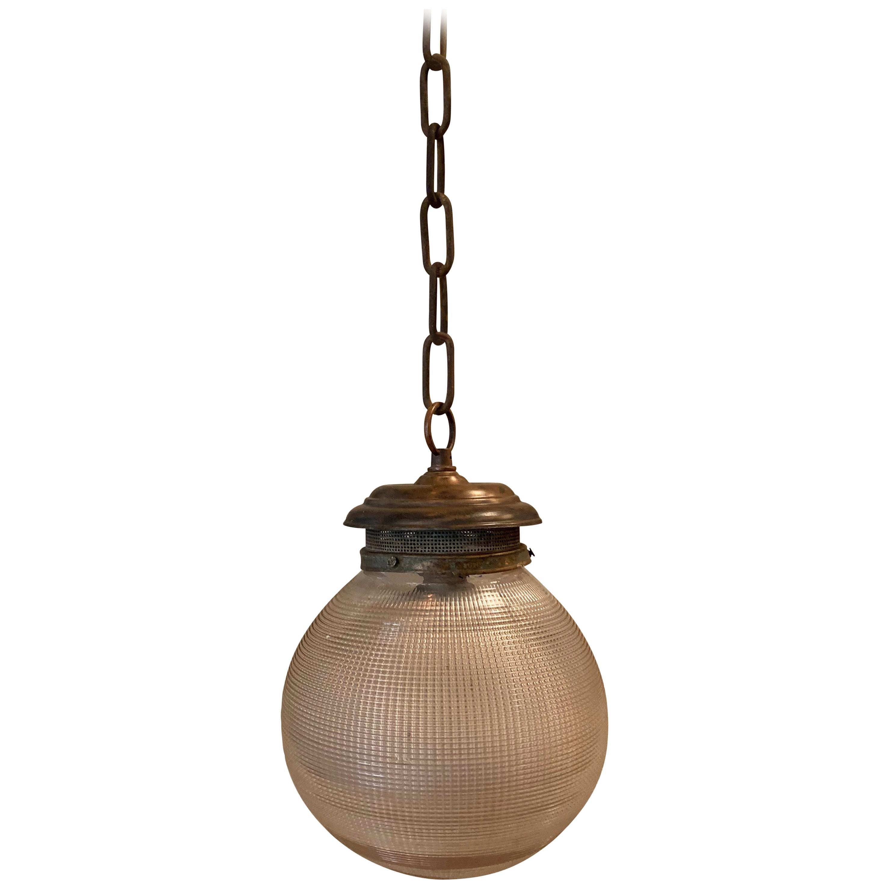 Prismatic Holophane Glass And Brass 8in Globe Pendant Light