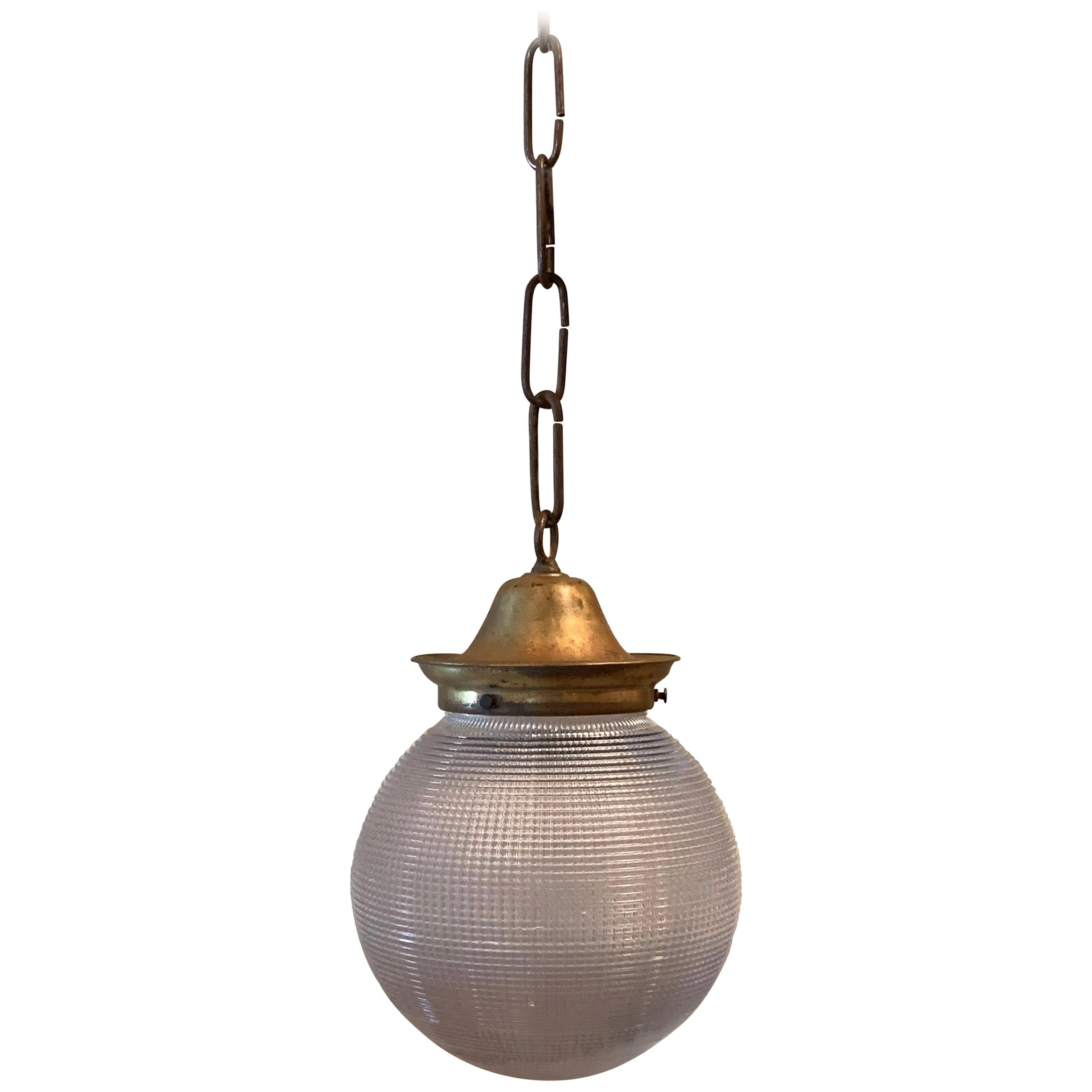 Prismatic Holophane Glass And Brass 6in Globe Pendant Light