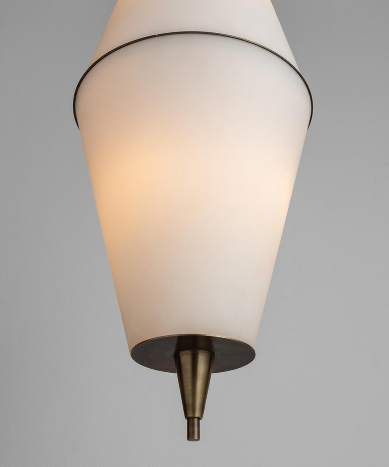 Large two part opaline glass pendant with brass hardware.  *Please Note: This fixture is made in Italy, and comes newly wired (eu wiring). It is not UL Listed. Standard Lead Time is 4-6 Weeks*