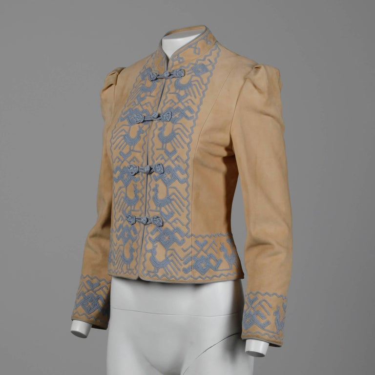 Beige Pristine 1970s Oscar de la Renta Tan + Purple Suede Leather + Embroidery Jacket For Sale