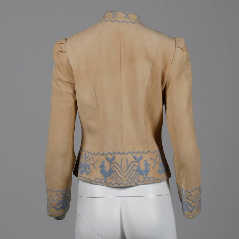 Pristine 1970s Oscar de la Renta Tan + Purple Suede Leather + Embroidery Jacket For Sale 2