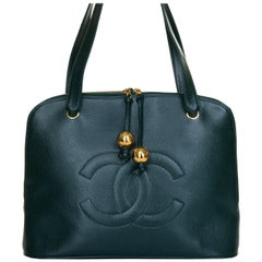 Pristine Chanel Forest Green Caviar 'Sac Cabas' Shoulder Bag- Iconic 'CC' Globes