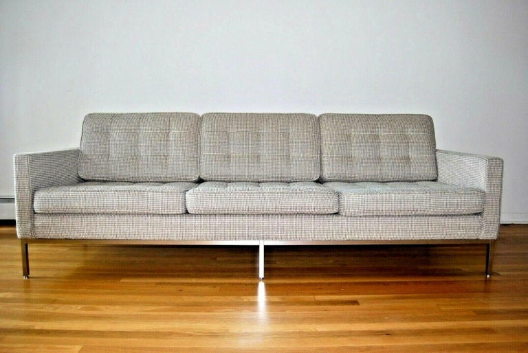 Pristine Florence Knoll sofa for Knoll International. Upholstered in gorgeous Sina Pearson fabric.  Florence Knoll was a pioneering designer and entrepreneur who created the modern look and feel of America's postwar corporate office with sleek