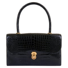 Pristine Hermes Vintage Black Crocodile 'Sac Cordeliere' with Gold Hardware