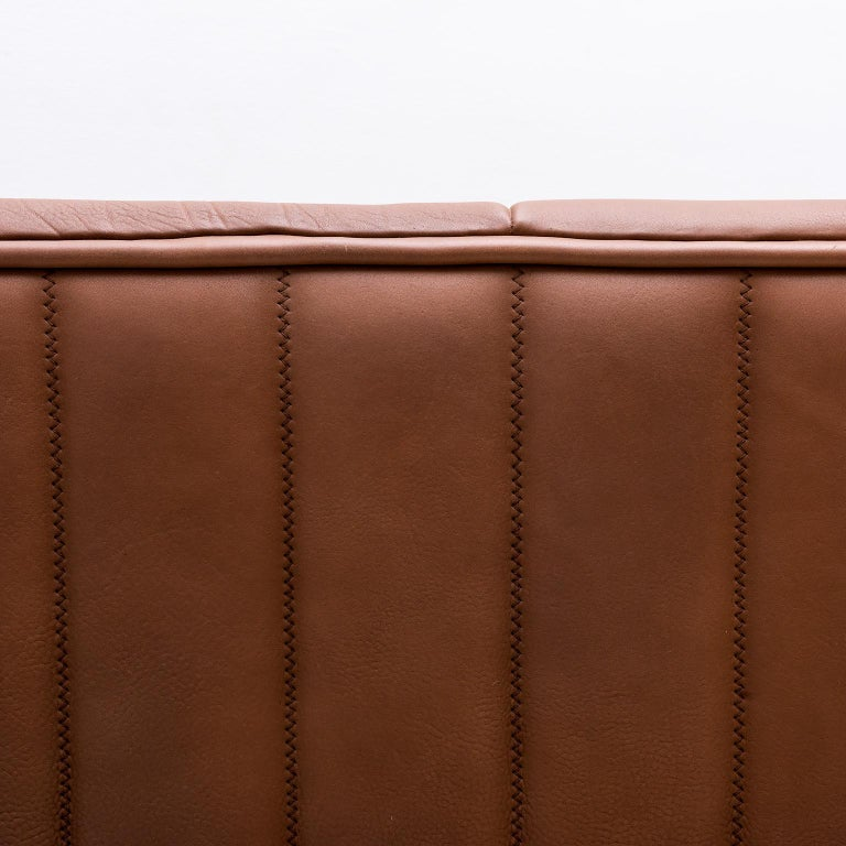 Pristine Original De Sede Model DS84 Sofa in Cognac Buffalo Leather, 1970s In Good Condition For Sale In Santa Fe, NM