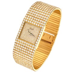 Pristine Piaget All Diamond 18 Karat Gold Watch Refrence 7131 C626