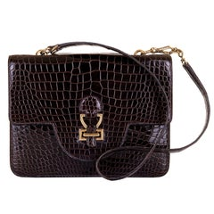 Pristine, Very Rare Vintage Hermes Dark Brown Crocodile 'Sac Sandrine' with GHW