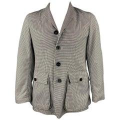 PRIVATE WHITE Size 42 Black & White Houndstooth Cotton Notch Lapel Sport Coat
