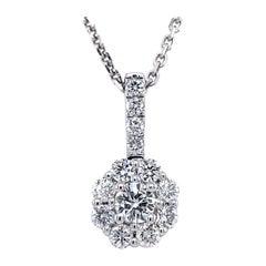 Privosa 14 Karat White Gold Diamond Halo Pendant Necklace 1/2 CTTW