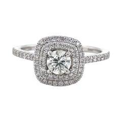 Privosa IGI Certified 14K White Gold Double Halo Diamond Ring 3/4 CTTW