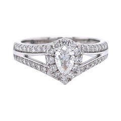 Privosa IGI Certified 14K White Gold Pear Shaped Diamond Engagement Ring