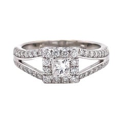 Privosa IGI Certified 14K White Gold Princess Cut Diamond Engagement Ring
