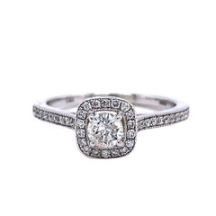 Privosa IGI Certified 14K White Gold Round Halo Engagement Ring 1/2 CTTW