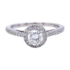 Privosa IGI Certified 14k White Gold Round Halo Engagement Ring 3/4 CTTW