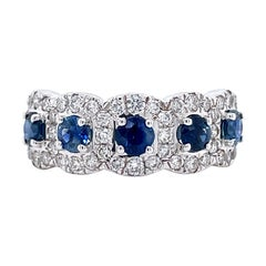 Privosa IGI Certified Blue Sapphire and Diamond 14k White Gold Ring
