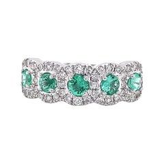 Privosa IGI Certified Emerald and Diamond 14K White Gold Ring