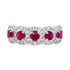 Privosa IGI Certified Ruby and Diamond 14k White Gold Ring