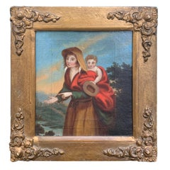 Probably 18th Century Framed Continental Painting of Mother with Child